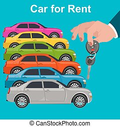 Car for rent concept, hand holding