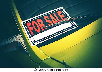 Car For Sale Sign Under Windshield Wiper. Closeup Photo. Vehicle Selling Theme.