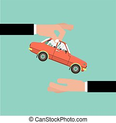 Car For Vehicle Sales Agreement Vector Illustration