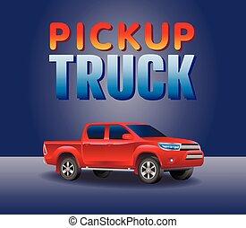 car, fora-estrada, pickup, ilustração, realístico, picup, vetorial, caminhão, imagem, style., vermelho