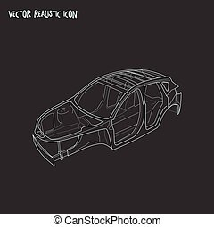 Car frame icon line element. Vector illustration of car frame icon line isolated on clean background for your web mobile app logo design.
