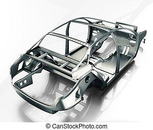 Car Frame Isolated. 3d illustration