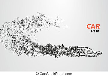 Car from the particles. Car consists of small circles and dots. Vector illustration.