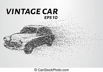 Car from the particles. Vintage car breaks down into molecules. Car of dots and circles. Vector illustration