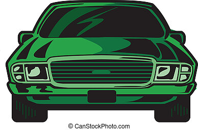 Car Front - Cartoon Illustration Front View of Cool Sports ...