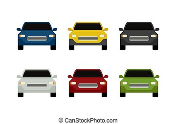 Car front view. Flat simple icons of colored cars.