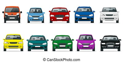 Car front view set. Vehicles driving in the city. Vector flat style illustration isolated on white background.