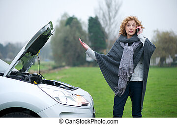Car Frustration - Woman on mobile phone complaining that her...
