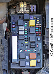 Car fuse box with relayes and fuses
