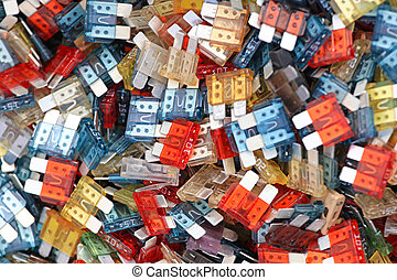 Car fuses - Bunch of color coded automotive fuses