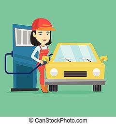 car, gás, cima, combustível, estação enchimento, trabalhador