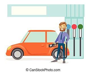 car, gás, cima, enchimento, combustível, station., homem