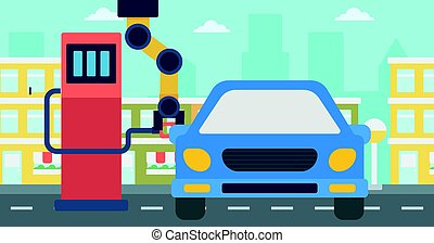 car, gás, robô, cima, enchimento, combustível, station.