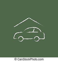 Car garage icon drawn in chalk.