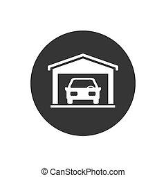Car garage icon on white background in flat