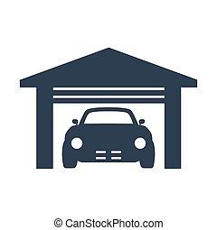 car garage icon on white background.
