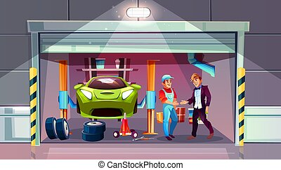 Car garage mechanic and client vector interior