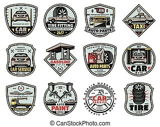 Car garage service and mechanic repair icons