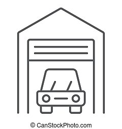 Car garage thin line icon, automobile and home, real estate sign vector graphics, a linear pattern on a white background, eps 10.