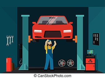 Car garage vector illustration, man mechanic standing and repairing auto