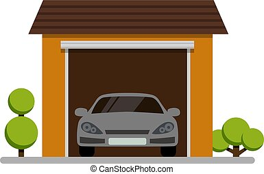 car garage with plant icon on white background