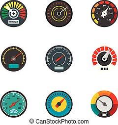 Car gauge icon set, flat style - Car gauge icon set. Flat ...