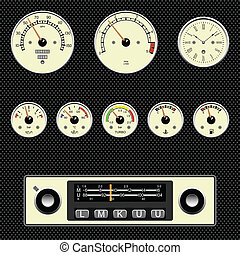 car gauges  - Retro styles car gauges fully layered
