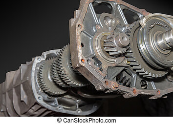 Car gearbox isolated on black background