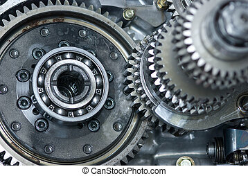 Car gearbox. Shallow depth of field with the background parts in focus.