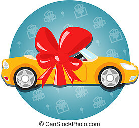 car gift - Car gift with bow symbol vector illustration ...