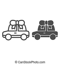 Car gift line and glyph icon. Automobile prize vector illustration isolated on white. Auto with bow outline style design, designed for web and app. Eps 10.