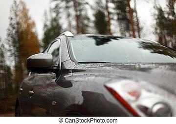 car glass macro close up