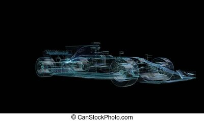 Car. Glow points, line and mesh formation of 3d Model Formula.
