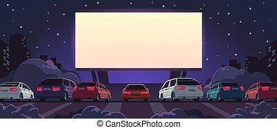 car, glowing, vetorial, night., automático, estacionamento, ...