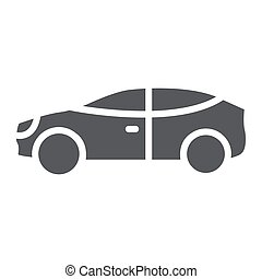 Car glyph icon, auto and transport, automobile sign, vector graphics, a solid pattern on a white background.