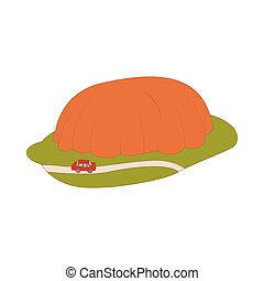 Car goes around mountain icon, cartoon style