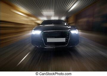 car goes in tunnel  - prestigious car goes in city tunnel