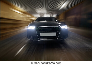car goes in tunnel  - prestigious car goes in city tunnel
