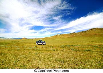 Car going beautiful mongolian offroad