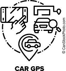 Car Gps Device Vector Concept Black Illustrations