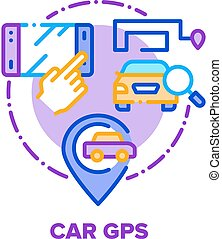 Car Gps Device Vector Concept Color Illustration