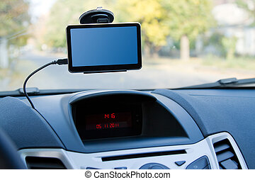 Car gps navigator atteched to the windshield