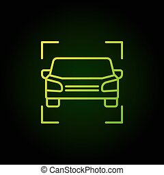 Car green icon - vector vehicle outline concept sign