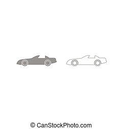 Car grey set icon .