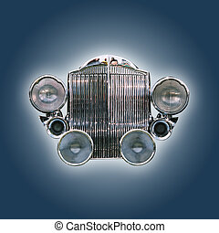 Car grill from the 30ies isolated on blue with clipping path
