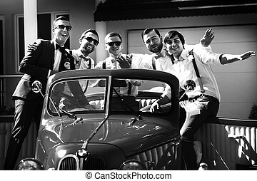 car, groomsmen, seu, antiquado, noivo