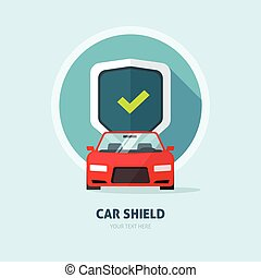 Car guard protection shield sign, collision insurance logo, auto service