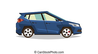 Car hatchback. Side view. Transport for travel. Gas engine. Alloy wheels. Vector illustration. Flat style