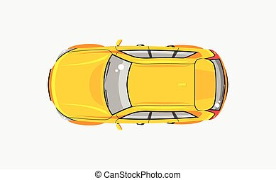Stock vector illustration isolated yellow car hatchback top view in flat style on gray background. Element infographic, printed material, website, icon, card Congratulation on Day of motorist, driver