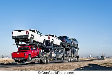 car-hauling, grand camion, caravane